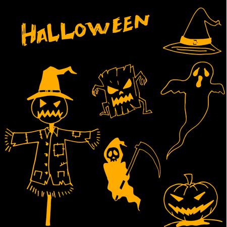 warlock: Character Halloween scarecrow pumpkins warlock in dooodle