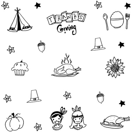 compliments: Thanksgiving doodle set with hand draw illustration Illustration