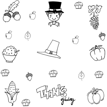 compliments: Doodle thanksgiving element vector on white backgrounds