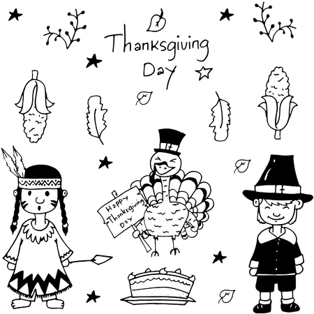chikens: Sketch doodle Thanksgiving icon set vector illustration