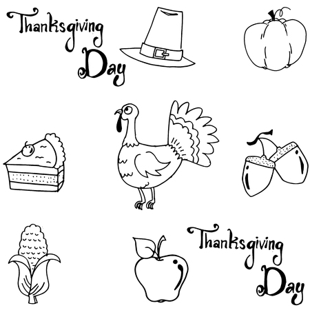 chikens: Element thanksgiving doodle vector art with hand draw Illustration