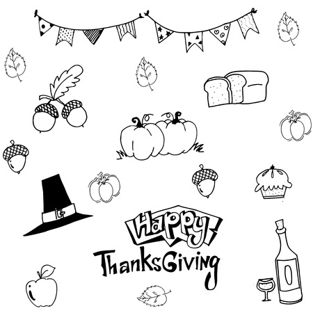 chikens: Happy Thanksgiving in doodle vector art illustration