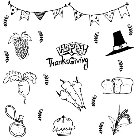 chikens: Doodle of food thanksgiving Illustration