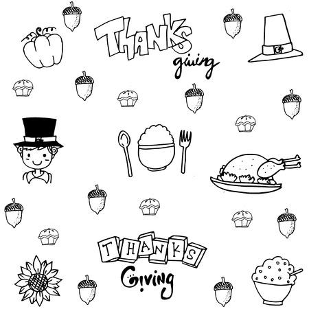 chikens: Doodle flat thanksgiving party set vector art