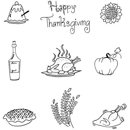 chikens: Thanksgiving in doodle food vectoor art illustration Illustration