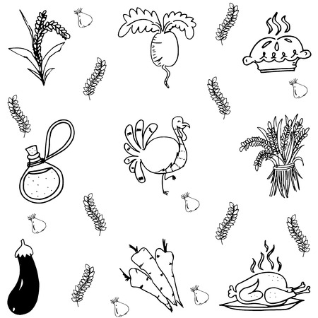 chikens: Element Thanksgiving party in doodle vector Illustration