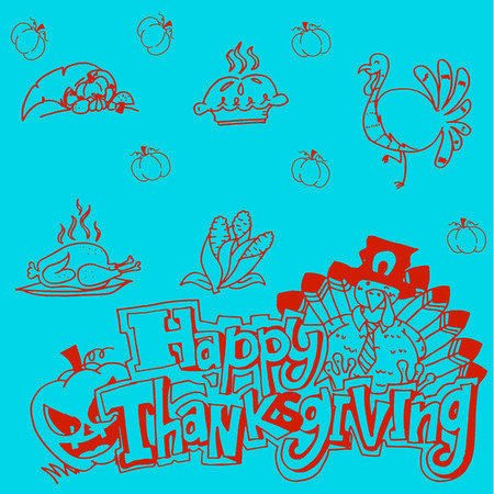 genus: Doodle Thanksgiving vector art Illustration