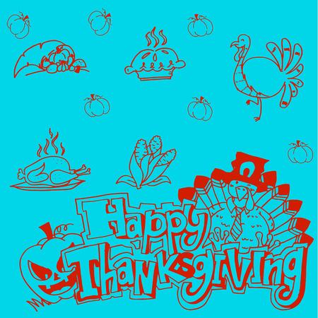 chikens: Doodle Thanksgiving vector art Illustration