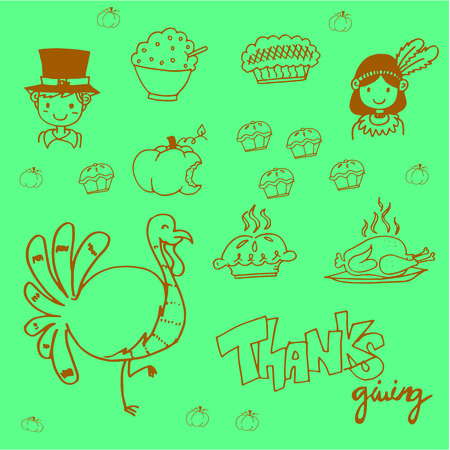 chikens: Doodle food thanksgiving party vector art illustration