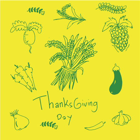 chikens: on yellow backgrounds doodle of thaksgiving illustration Illustration