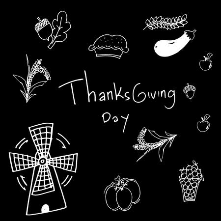 chikens: Thanksgiving on black backgrounds in doodle vector Illustration