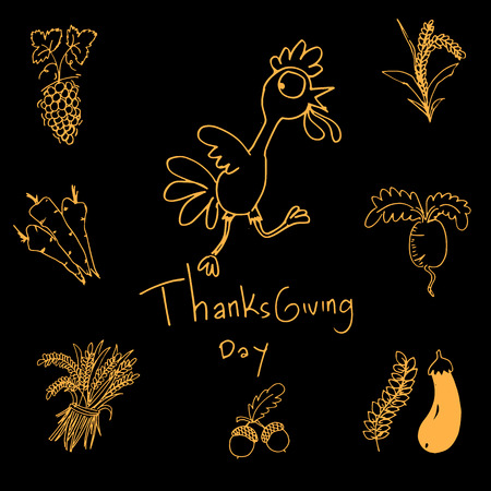 chikens: Thanksgiving doodle set vector art with hand draw