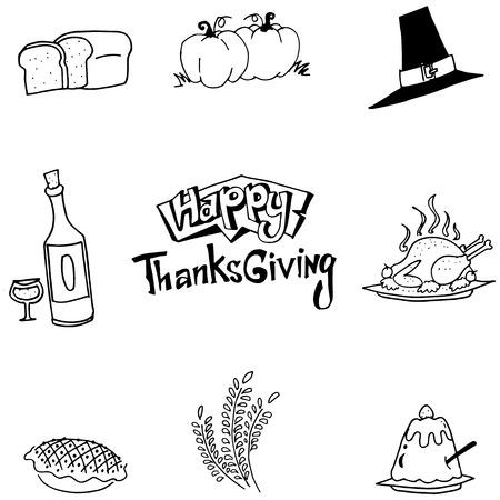 chikens: Element food Thanksgiving in doodle vector art