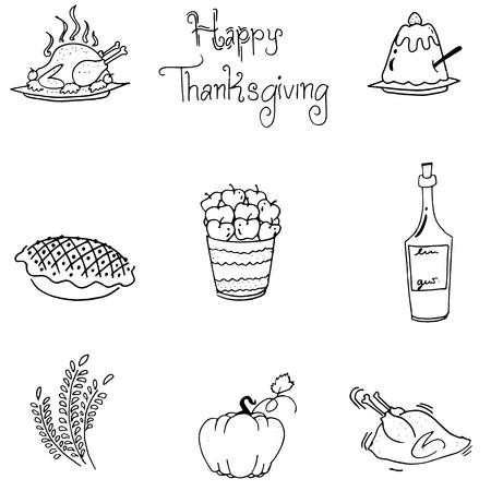 chikens: Doodle of thanksgiving food flat design vector art