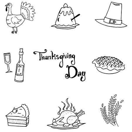 chikens: Thanksgiving flat doodle vector art with hand draw Illustration