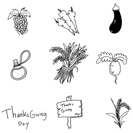chikens: Doodle Thanksgiving vegetable set vector art illustration Illustration