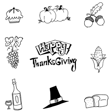 chikens: Happy Thanksgiving element party in doodle vector art Illustration