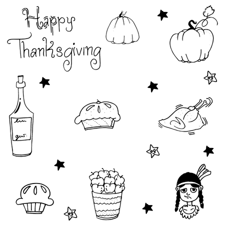 chikens: Element Thanksgiving food in doodle vector art Illustration