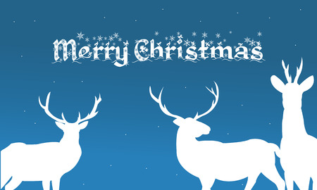 christmas backgrounds: Merry christmas backgrounds deer of silhouette illustration Illustration