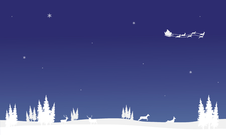 chrismas: At nigh santa sleigh of silhouette Chrismas backgrounds vector