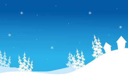 丘の背景ベクトルのクリスマス家のシルエット