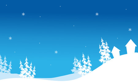 christmas backgrounds: Silhouette of Christmas house in hills backgrounds vector Illustration