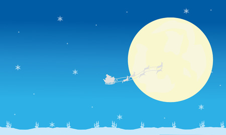 santa sleigh: Silhouette of santa sleigh and full moon christmas backgrounds