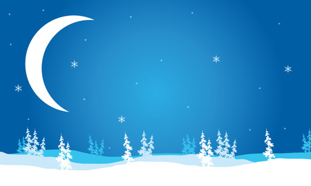 crescent moon: Scenery Christmas Crescent moon backgrounds vector illustration