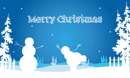 christmas backgrounds: Backgrounds Merry Christmas snowman and spruce illustration