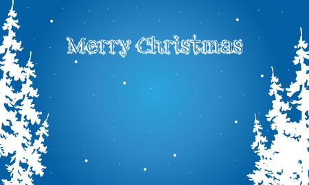 フラット背景メリー クリスマス スプルース風景イラスト