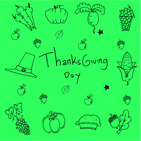chikens: Doodle of thanksgiving on green backgrounds vector Illustration