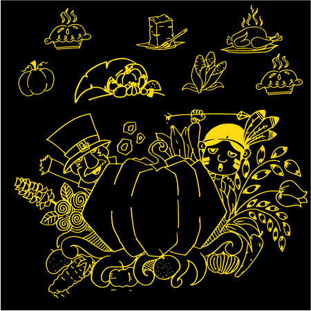 chikens: Thanksgiving doodle art vector on black backgrounds