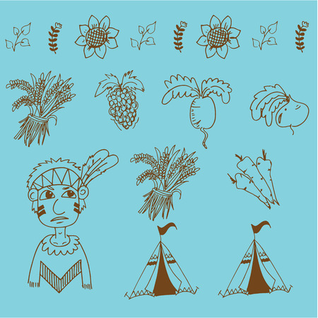 chikens: Doodle of Thanksgiving fruit and vegetable illustration