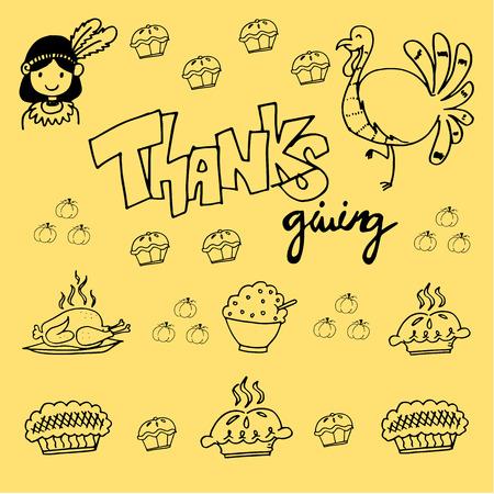 chikens: Thanksgiving element of doodle vector for kids Illustration