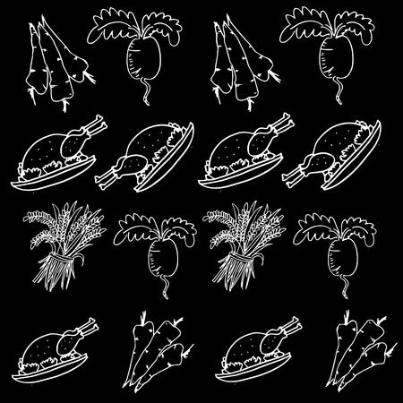 chikens: Doodle of Thanksgiving food vegetable on black backgrounds