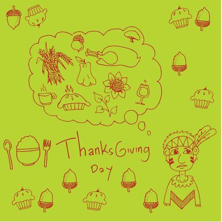 chikens: Thanksgiving for kids in doodle vector art Illustration