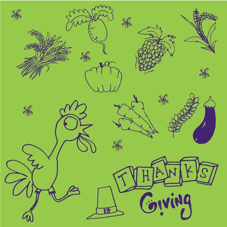 chikens: Doodle set Thanksgiving on green backgrounds illustration Illustration