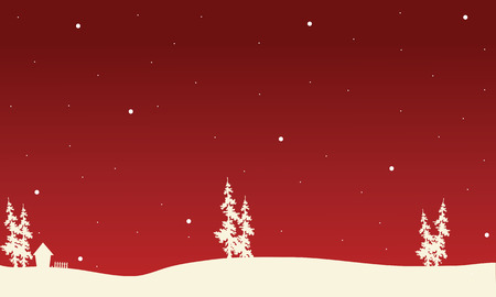christmas backgrounds: Red backgrounds Christmas spruce of silhouette vector