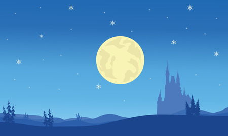 christmas backgrounds: Scenery at night Christmas on blue backgrounds
