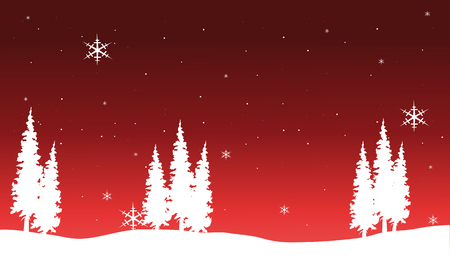 chrismas background: Silhouette of Chrismas spruce vector on red background Illustration