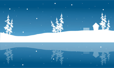 winter scenery: Christmas winter scenery of silhouette and reflection vector Illustration