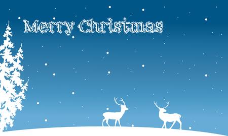 santas village: Silhouette of Christmas deer and spruce winter illustration