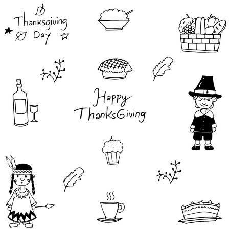 chikens: Hand draw doodle of Thanksgiving vector art
