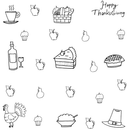 chikens: Doodle of Thanksgiving with hand draw for kids