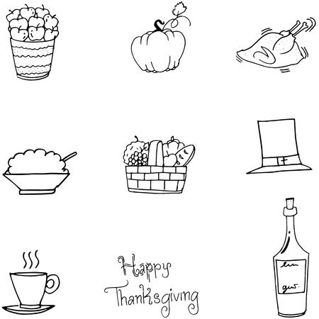 chikens: Thanksgiving food set in doodle vector illustration Illustration