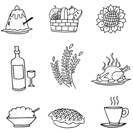 chikens: Doodle set food party Thanksgiving vector art