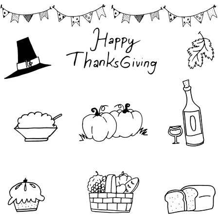 chikens: Happy Thanksgiving element in doodle on white backgrounds Illustration