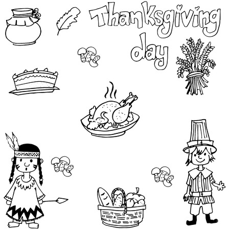 chikens: Doodle of Thanksgiving indian people and food