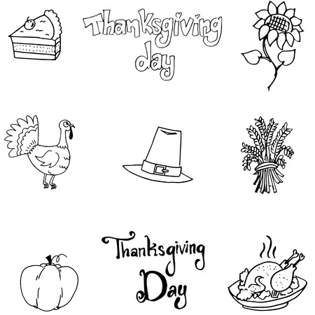 chikens: Thanksgiving element in doodle flat with hand draw