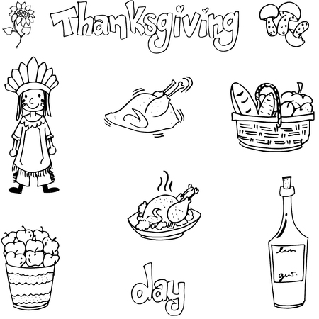 chikens: Thanksgiving with hand draw in doodle set vector art Illustration